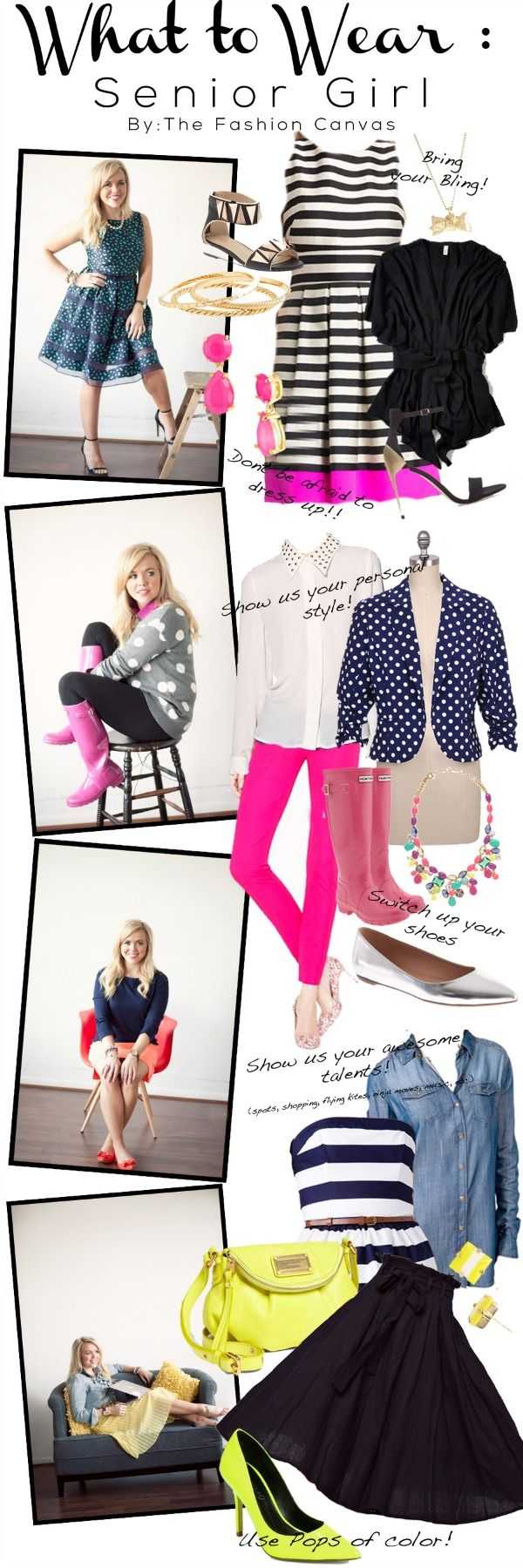 What To Wear Series - Senior Photo Shoot. Styleboard and fashion ideas for what you should wear to your senior photo shoot.