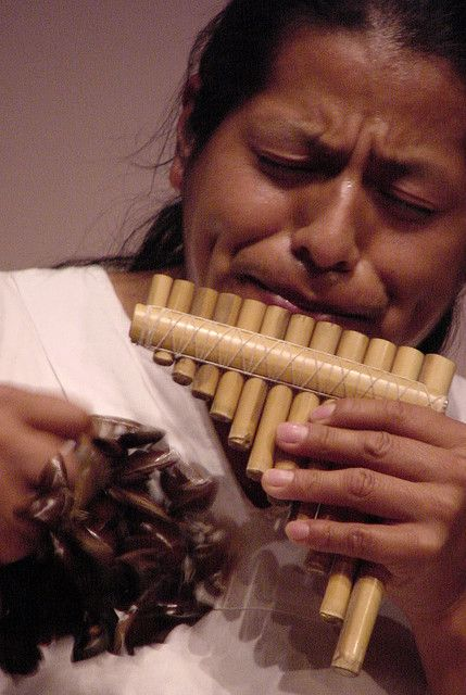 In Ecuador they play pan pipes. The different types they play are antara, malta, chuli, suki, toyo,and a  rodondo. The person pictured is playing an antara.