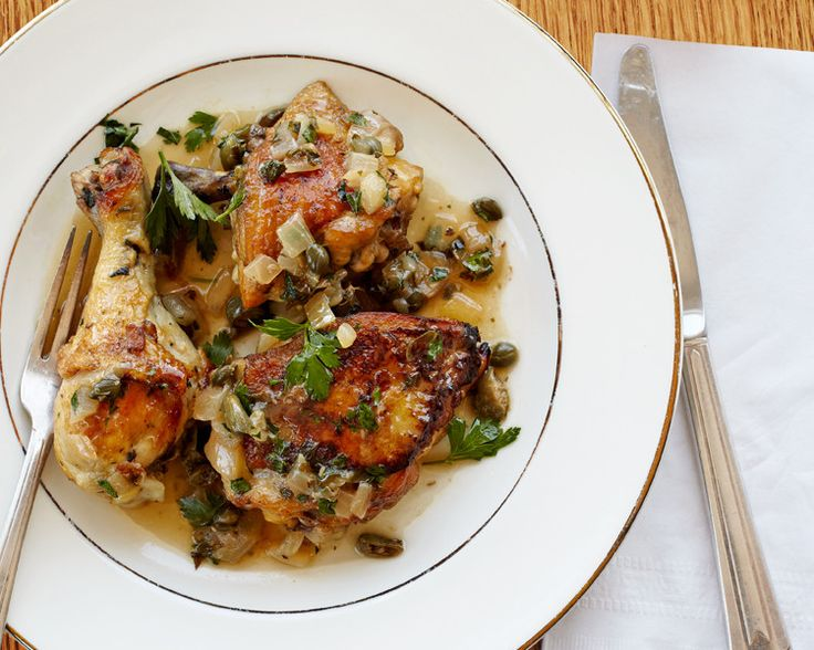 Braised Chicken With Capers And Parsley. White wine vinegar and capers pack tangy and briny flavors into this braise.