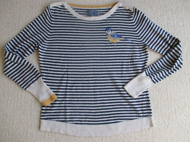 Softest striped Joules jumper with blue tit UK16