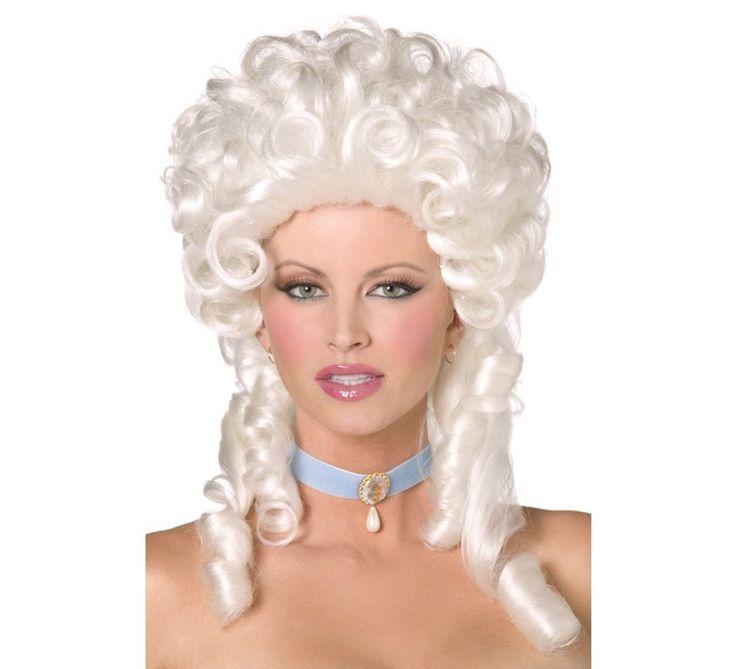 Peluca de Época blanca con tirabuzones. Complemento ideal para combinar con nuestros disfraces de época, venecianos, etc...