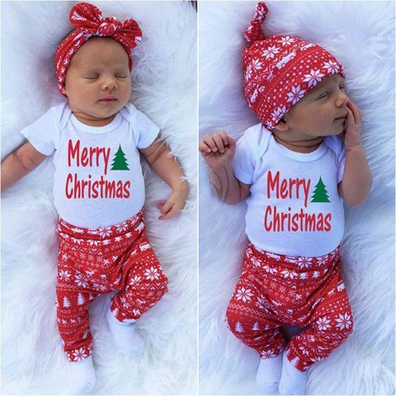 New Newborn Baby Girl Boy Christmas Tops T Shirt Pants Leggings 3pcs Outfits Set | eBay