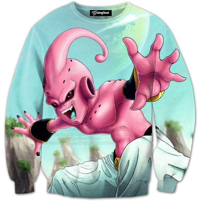 Dragon Ball Z Evil Kid Buu Long Sleeve Sweatshirt. 100% Cotton and Polyester blend, custom made sublimation printed technique and hand sewn hoodies, t-shirts, and long sleeves clothing.   For our 3D clothing, unless there is a picture on the back for our product images, all of our 3D clothing are printed front and back with the same image.                 FREE Shipping  NOT SOLD IN STORES          Gender: Unisex  Material: Cotton, Polyester Spandex Blend Machine Washable and Dryer Safe…