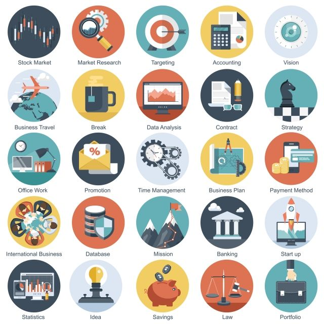 Colorful Icon Set For Business Management Technology And Finances