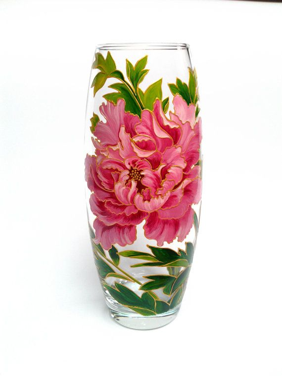 Hand painted vase Hand painted glass Hand by PaintedglassbySveti