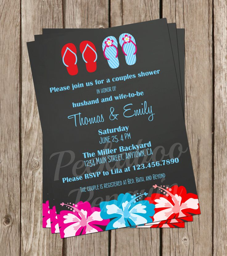 Hawaiian Bridal Shower Invite, Couples Shower Invitation, Digital Invitation, Wedding Shower Invitation, Luau Invite, Sandals Invites by PeekabooPenguin on Etsy