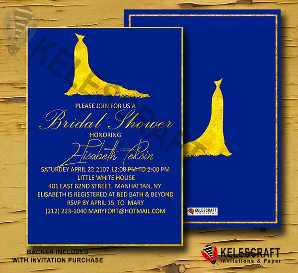 Gold Wedding Dress Bridal Shower Navy Blue Bridal Shower Invitation with Gold Frame Invite Bridal Shower Bride Bridesmaid DiY Printable by KelesCraft on Etsy