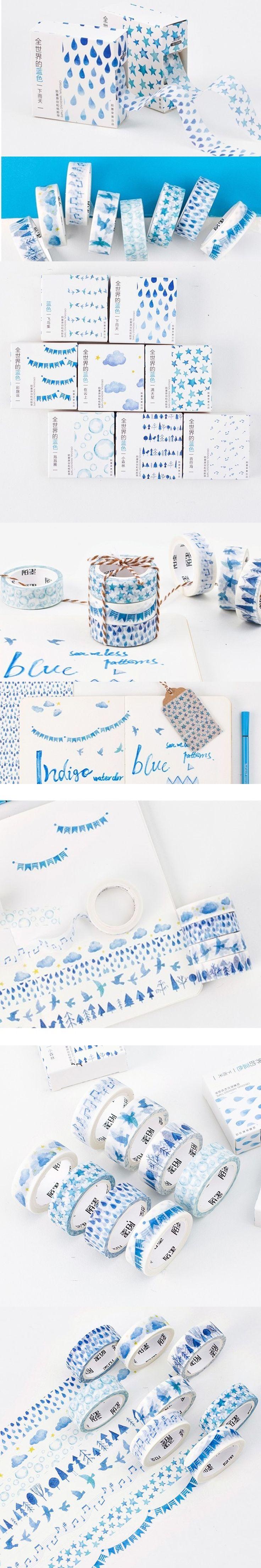 8 pcs/Lot Blue world masking tape set 15mm*7m scrapbooking sticker washitape School supplies cinta adhesiva decorativa FJ682