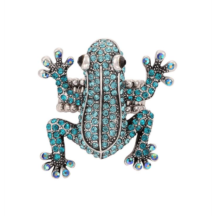 Shop for Frog Stretch Ring,okajewelry Blue Zircon Crystal Frog Stretch Ring-Frog Stretch Ring features a crawling frog paved with rows of white rhinestones.