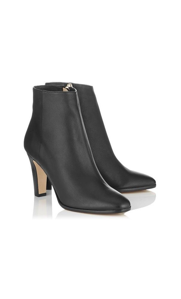 Jimmy Choo Mass Black Grainy Calf Leather Ankle Boots #shoes