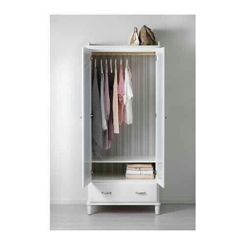£275 IKEA white mirror double door with draw wardrobe