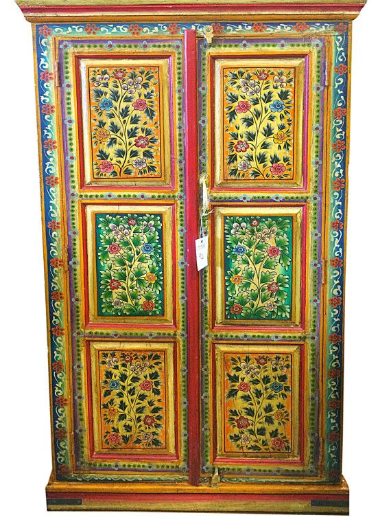 Indian jaipur armoire hand painted floral cabinet by for Kitchen cabinets jaipur