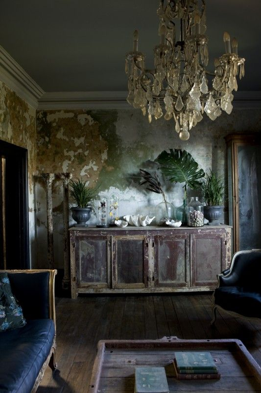 distressed wood and crystal chandelier: