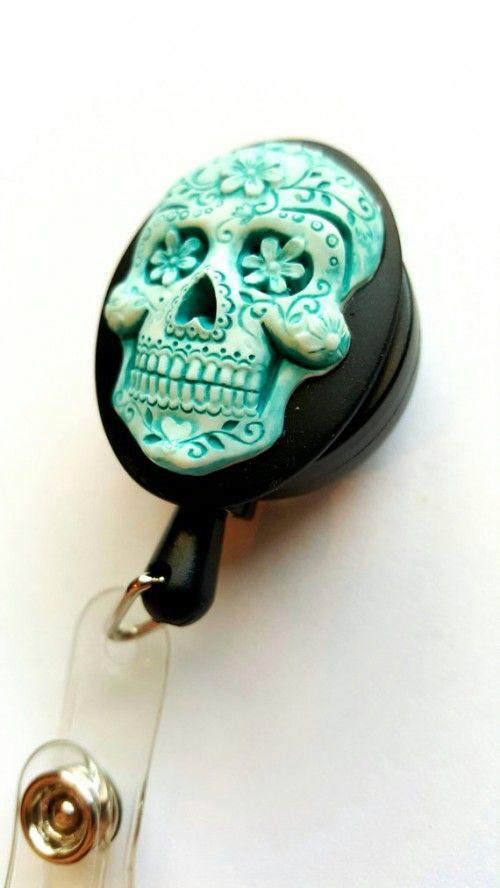 Blue Turquoise Sugar Skull Badge Holder Reel Retractable Key Card