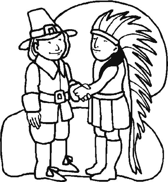 thanksgiving coloring pages of indians - photo#13