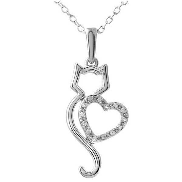 White Gold Diamond Cat & Heart Silhouette Necklace ($480) found on Polyvore featuring jewelry, necklaces, diamond jewelry, long necklace, white gold diamond jewelry, heart necklace and stuller jewelry