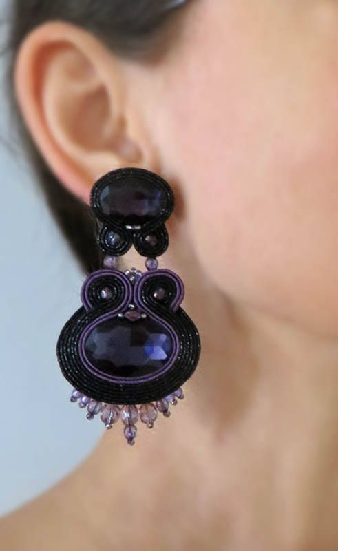 Excited to share the latest addition to my #etsy shop: Purple earrings Inspirational earrings Soutache earrings long dangle earrings gioielli soutache Embroidered Violet seed bead earrings http://etsy.me/2HPc81S #jewelry #earrings #purple #soutache #sutaszula