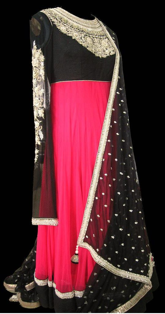Pink and black anarkali