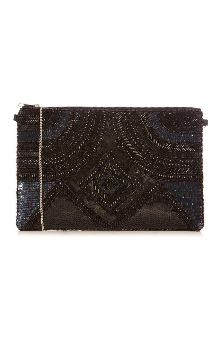 Primark - Black Embellished Clutch Bag