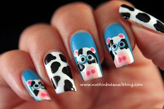 Cow Nail Art Tutorial - nuthin but a nail thing