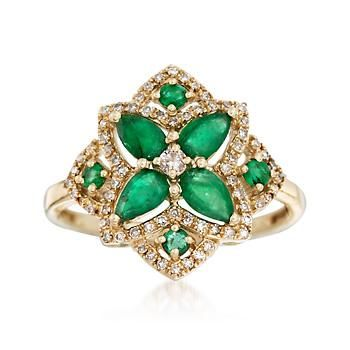 .80 ct. t.w. Emerald and .23 ct. t.w. Diamond Ring in 14kt Yellow Gold