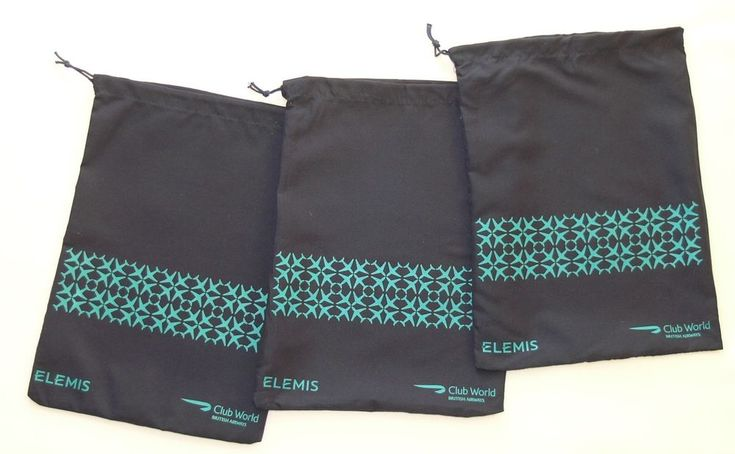 3 British Airways BA Club World Elemis cloth amenity bags empty, ideal shoe bags