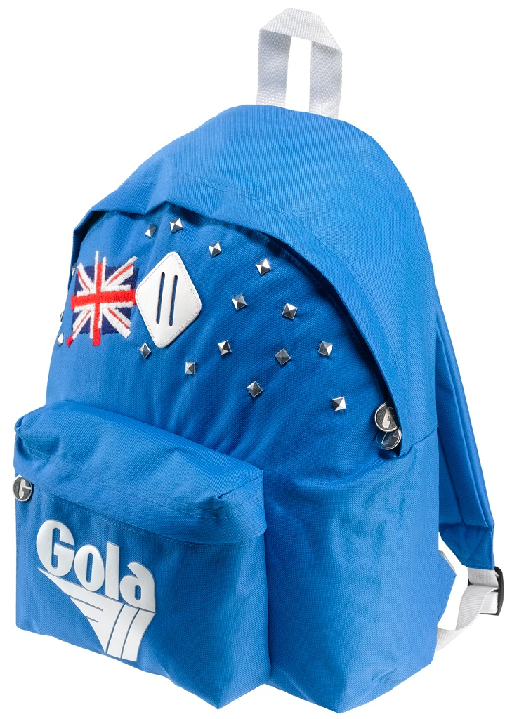 Zaino Gola in nylon, con schienale e spallacci imbottiti. Tasca frontale con logo gommato in colore a contrasto, borchie e bandiera inglese ricamata.    Prezzo: 57,50€    SHOP ONLINE: http://www.aw-lab.com/shop/marche/gola/zaino-gola-harlow-9999143