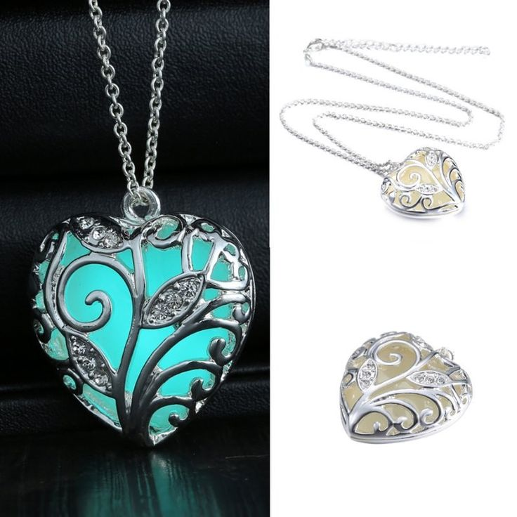 Glow In the Dark Heart Necklace Pendant Christmas Gift