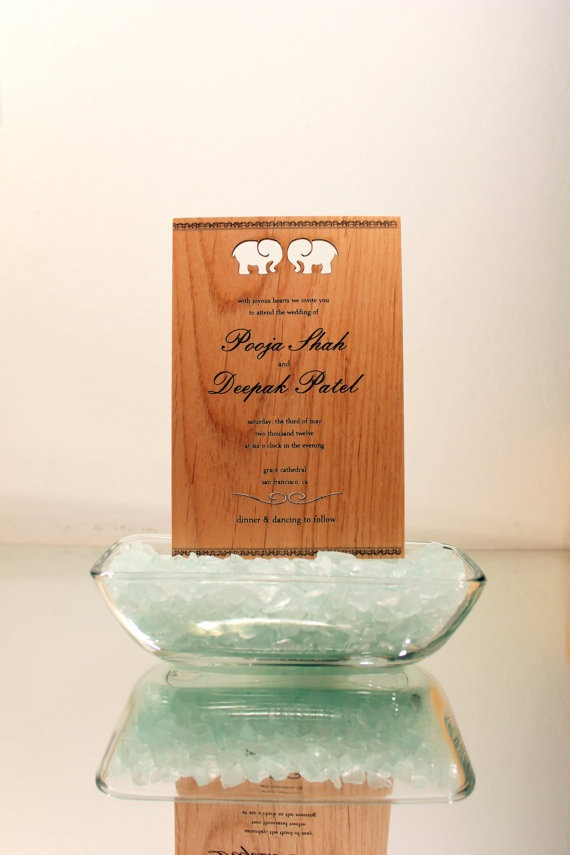 indian wedding cards wordings in hindi%0A Wood Wedding Invitation  Indian Elephant by cardtorial