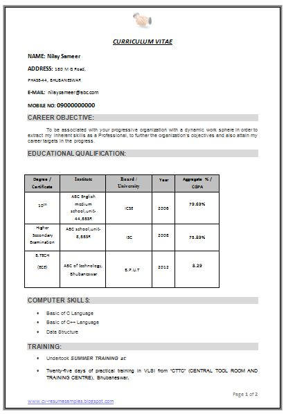 professional curriculum vitae resume template for all job seekers sample template of boxed resume format - Resume Format Free Download