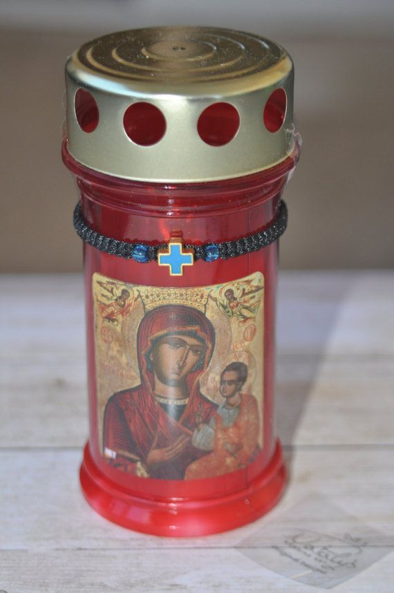 Greek Easter Candle Orthodox Easter lambada with gift Bracelet by NatalysWeddingArt