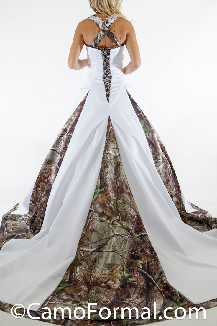realtree wedding invitations%0A Unbeliveably Elegant  Very full aline Wedding Gown with Cathedral Train  accented with Camo Godets