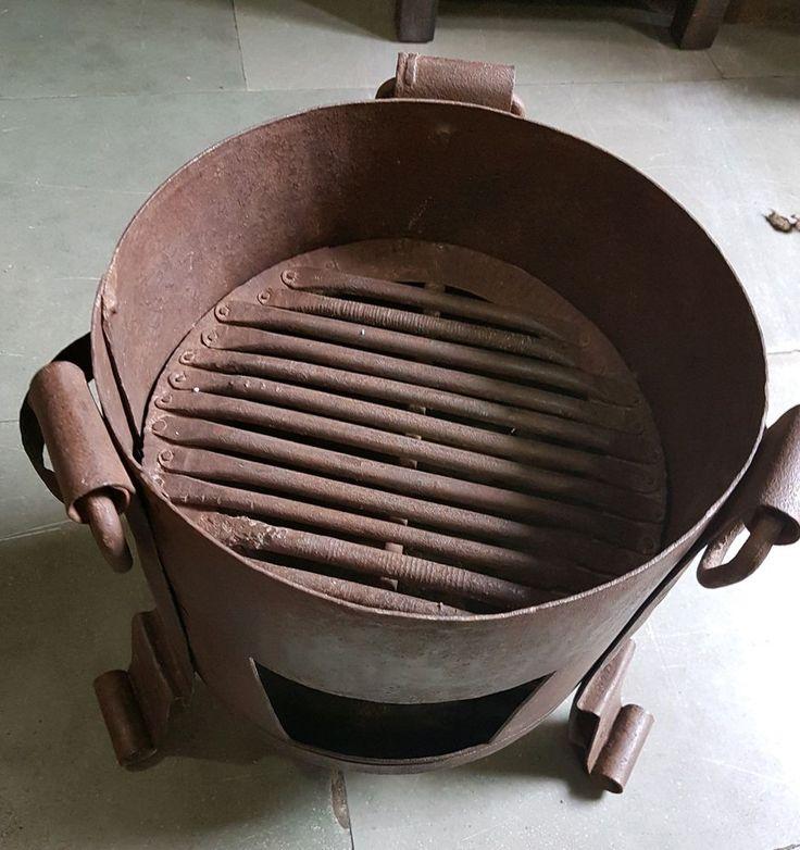 Antique Cooking Heating Forge Iron Sigdi Sigri Wood Burn Stove Firepit India