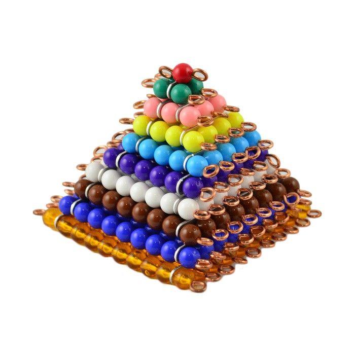 Cuadrados de perlasde colores de 1 a 10. Las perlas están ensartadas en alambre de cobre con piezas transversales de acero inoxidable para mayor resistencia y rigidez. Este material de lametodología Montessories perfecto para practicar con el niño la asociación del concepto de número a la cantidad de forma sensitiva. Así, asegura que el proceso de abstracción matemática se basa en una actividad del niño con unmaterial que puede manipular y tocarcomo son las perlas. Este juego matemático…