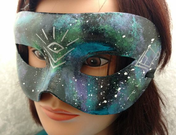 Galaxy Mask with Silver Sacred Geometry by EquinoxMasquerade