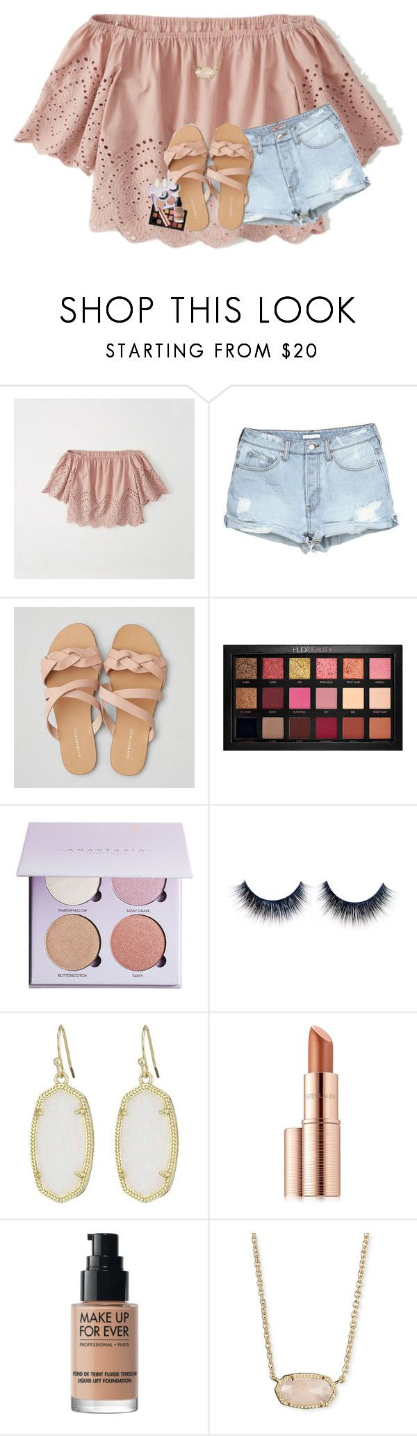 """""""hacked by lindsay<3"""" by theblonde07 ❤ liked on Polyvore featuring Abercrombie & Fitch, American Eagle Outfitters, Huda Beauty, Anastasia Beverly Hills, Kendra Scott, Estée Lauder and MAKE UP FOR EVER"""