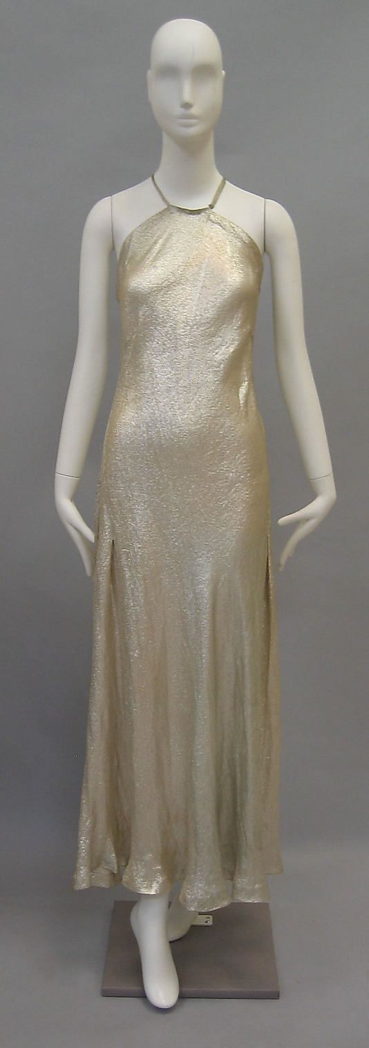 Silk and metallic-thread evening gown by Madeleine Vionnet, French, ca. 1936.