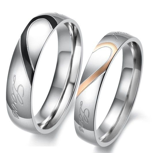 Stainless Steel Lovers Couples Anniversary Engagement Endless Love Rings Princess His Her Wedding Sets WeddingideasMatching SetMatching