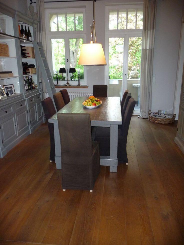 Esstisch Küchentisch Schreibtisch, Altholz massiv grau lackiert, im Flamant-Stil