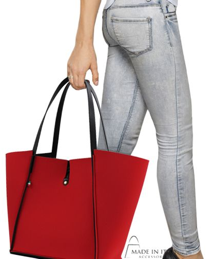 Miriana Collection | Neoprene Red Reversible Tote Bag | Made in Italy Accessories https://madeinitalyaccessories.com/miriana-neoprene-tote-bags
