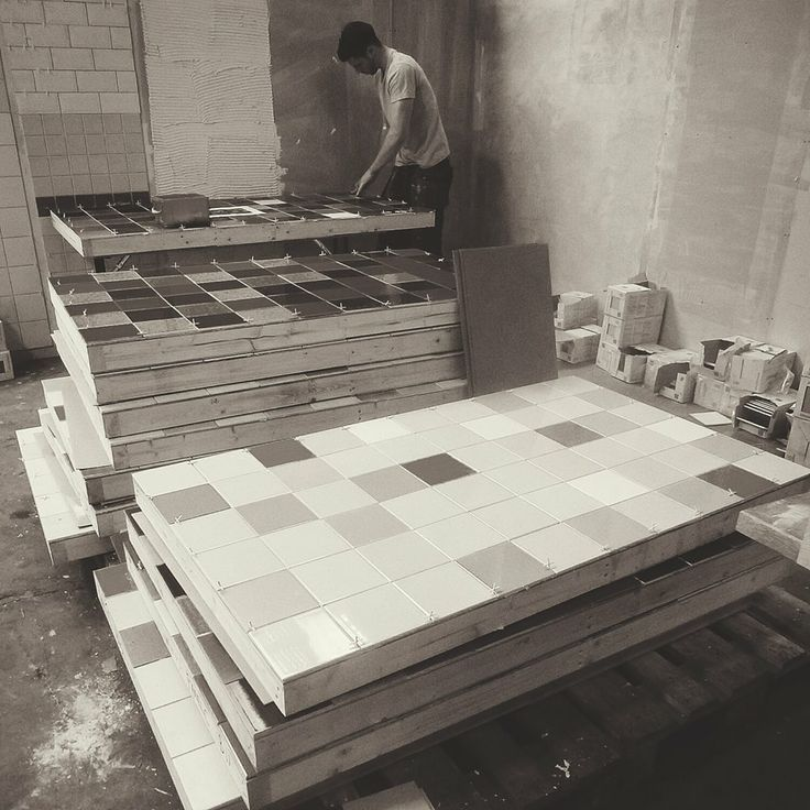Our team hard at work putting together the panels for Ptolemy Mann's giant tile #mural for Clerkenwell Design Week. See it in all it's full colour glory next week at #CDW2014.