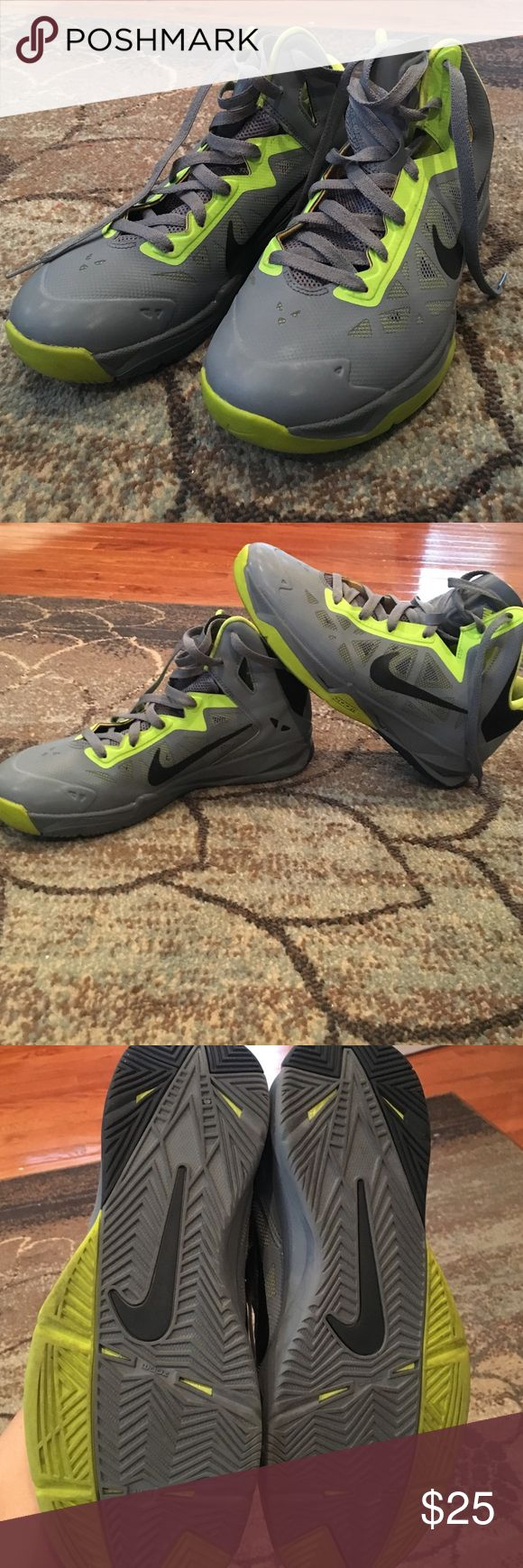 Nike Air Zoom hightop basketball shoes Hardly worn Nike high top basketball shoes. Size 9 men's fits women's 11 Nike Shoes Athletic Shoes