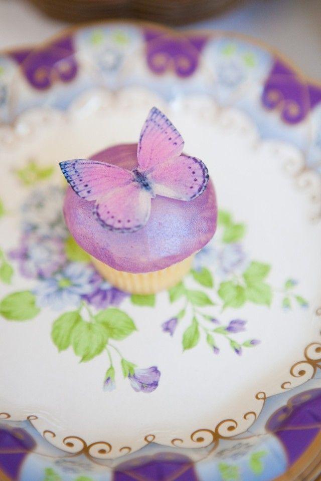 Cupcake paarse vlinder