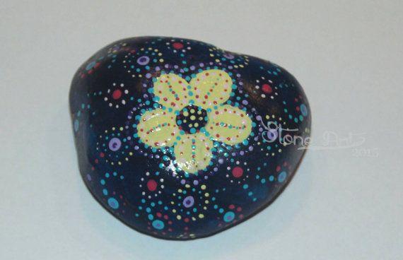 Handpainted flower pebble  dotpainting