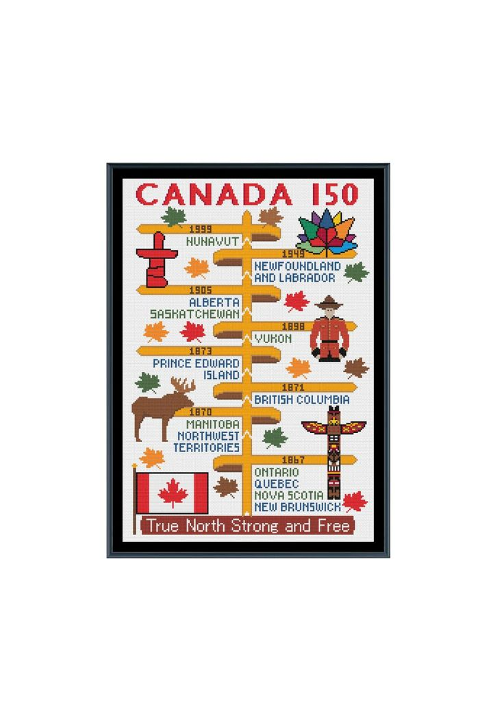 Canada 150 Years Timeline Cross Stitch Pattern by StitcherzStudio on Etsy