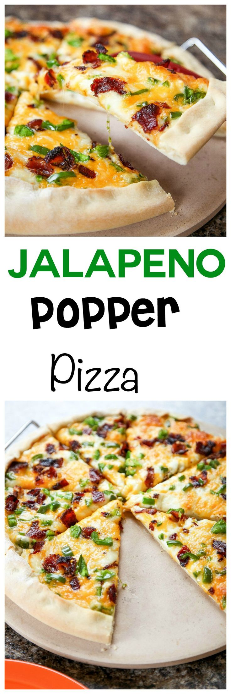 Jalapeno Popper Pizza: Spicy jalapenos and crunchy bacon inside the easiest homemade pizza crust ever! Tastes just like a jalapeno popper!