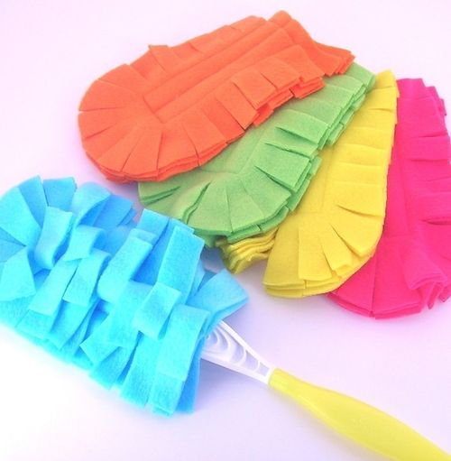 "Washable ""Swiffer"" dusters!    Follow these directions using FLEECE or MICROFIBER - seems to work best -  (found in the auto section of some stores) to make your own."