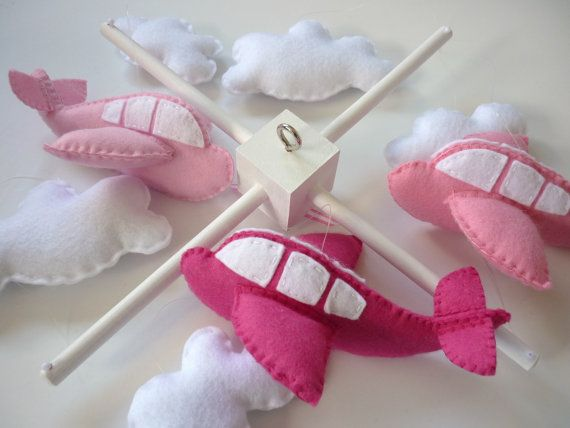 Airplane Baby Mobile  Shades of Pink  Custom Crib by MaisieMooNZ, $85.00