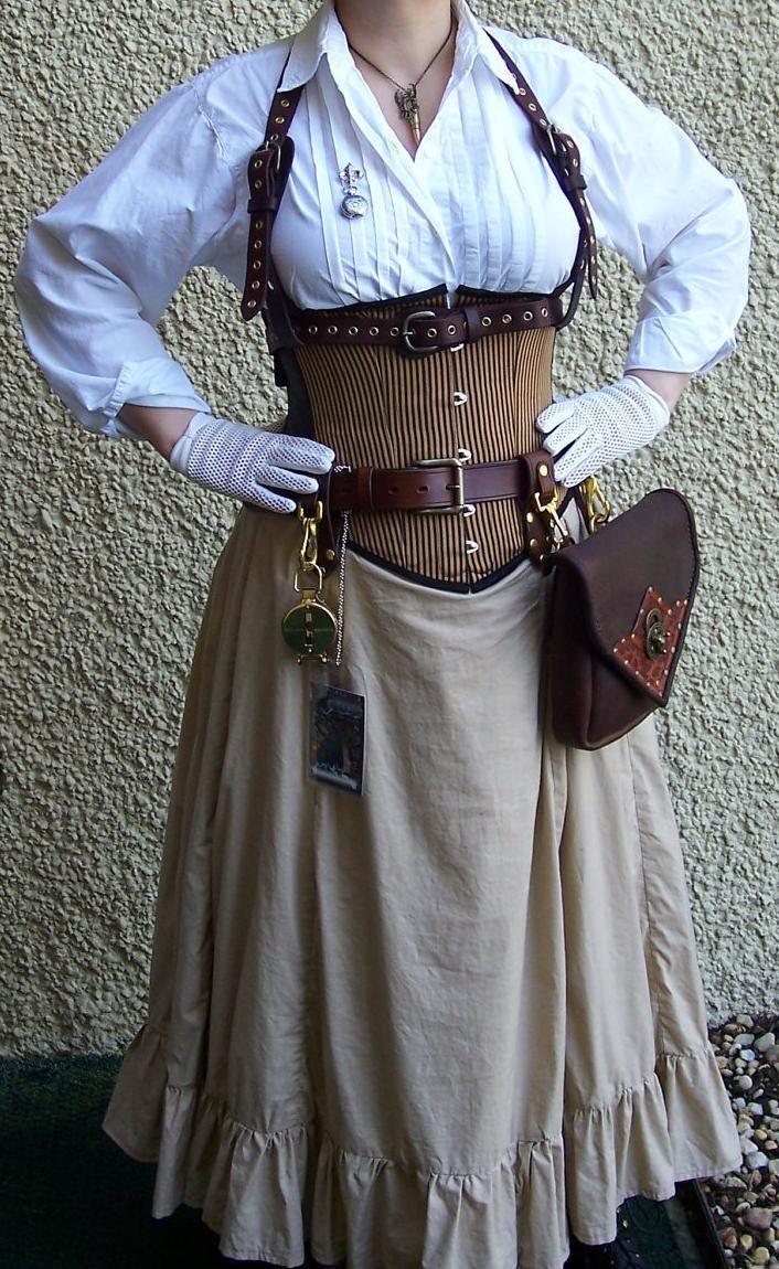 Steampunk Bustle Victorian Gored Skirt Ruffles Airship LARP. -  via Etsy.
