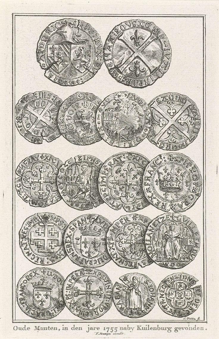 Simon Fokke | Oude munten gevonden bij Culemborg, 1755, Simon Fokke, Frans Houttuyn, 1755 | Negen verschillende soorten van oude munten gevonden bij Culemborg, juli 1755. Afgebeeld onder elkaar in vijf rijen met voor- en keerzijde.
